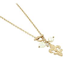 """17"""" Pearl Accented Goldtone Fleur De Lis Necklace #8662N-GD-FLEUR"""