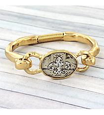 Hammered Goldtone Fleur de Lis Hook Bracelet #8684B-FLEUR-GD