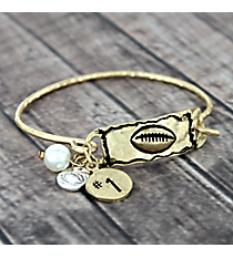 Textured Goldtone Football Hook Bracelet #8694B-FOOTBALL