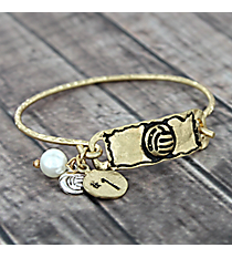Textured Goldtone Volleyball Hook Bracelet #8694B-VOLLEYBALL