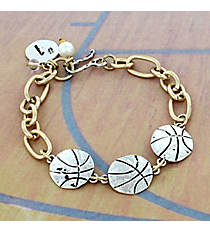 Two-Tone Triple Basketball Bracelet #8695B-BASKETBALL