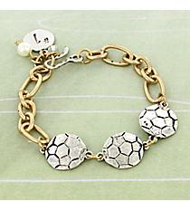 Two-Tone Triple Soccer Bracelet #8695B-SOCCER