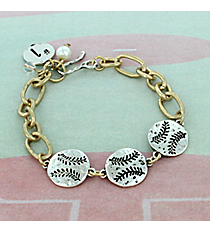 Two-Tone Triple Softball Bracelet #8695B-SOFTBALL