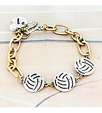 Two-Tone Triple Volleyball Bracelet #8695B-VOLLEYBALL