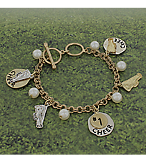 Two-Tone Cheer Charm Toggle Bracelet #8696B-CHEER