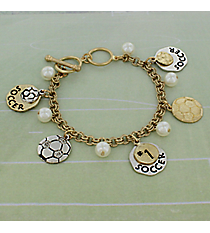 Two-Tone Soccer Charm Toggle Bracelet #8696B-SOCCER