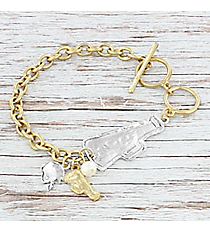 Two-Tone Cheer Toggle Bracelet #8698B-CHEER