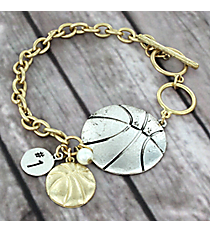 Two-Tone Basketball Toggle Bracelet #8698B-BASKETBALL
