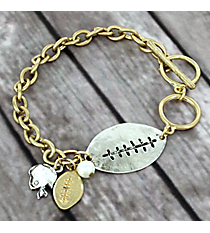 Two-Tone Football Toggle Bracelet #8698B-FOOTBALL