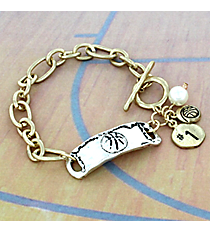 Two-Tone Basketball Cluster Charm Toggle Bracelet #8699B-BASKETBALL