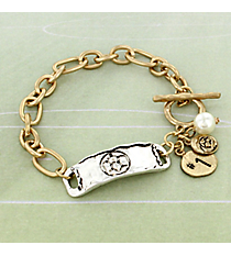Two-Tone Soccer Cluster Charm Toggle Bracelet #8699B-SOCCER