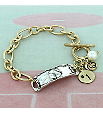 Two-Tone Softball Cluster Charm Toggle Bracelet #8699B-SOFTBALL