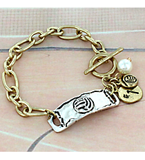 Two-Tone Volleyball Cluster Charm Toggle Bracelet #8699B-VOLLEYBALL