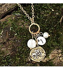 "16"" Two-Tone Bulldog Cluster Charm Necklace #8700N-BULLDOG"