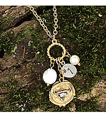 """16"""" Two-Tone Longhorn Cluster Charm Necklace #8700N-LONGHORN"""