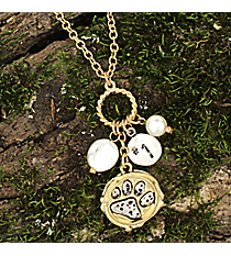 "16"" Two-Tone Paw Print Cluster Charm Necklace #8700N-PAW"