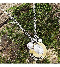 """16"""" Two-Tone Arkansas Football Charm Necklace #8702N-AR"""