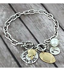 Two-Tone Arkansas Football Charm Toggle Bracelet #8702B-AR