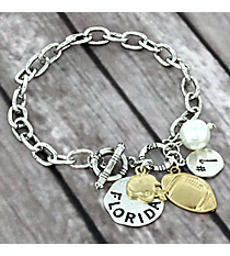 Two-Tone Florida Football Charm Toggle Bracelet #8702B-FL
