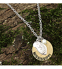"16"" Two-Tone Mississippi Football Charm Necklace #8702N-MS"