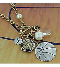 "29"" Two-Tone Basketball Cluster Charm Toggle Necklace #8703N-BASKETBALL"