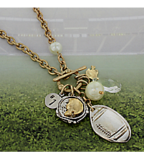 "29"" Two-Tone Football Cluster Charm Toggle Necklace #8703N-FOOTBALL"