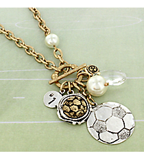 "29"" Two-Tone Soccer Cluster Charm Toggle Necklace #8703N-SOCCER"