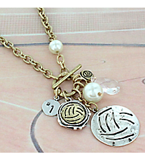 "29"" Two-Tone Volleyball Cluster Charm Toggle Necklace #8703N-VOLLEYBALL"