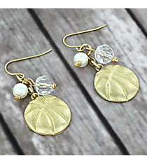 Dangling Goldtone Basketball Charm Earrings #8704E-BASKETBALL