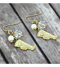 Dangling Goldtone Megaphone Charm Earrings #8704E-CHEER