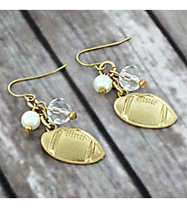 Dangling Goldtone Football Charm Earrings #8704E-FOOTBALL