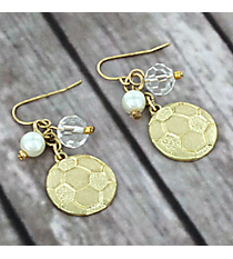 Dangling Goldtone Soccer Charm Earrings #8704E-SOCCER