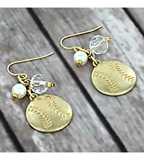 Dangling Goldtone Softball Charm Earrings #8704E-SOFTBALL