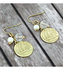 Dangling Goldtone Volleyball Charm Earrings #8704E-VOLLEYBALL