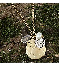 """17"""" Goldtone Soccer Charm Necklace #8704N-SOCCER"""