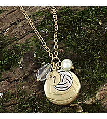 "17"" Goldtone Volleyball Charm Necklace #8704N-VOLLEYBALL"