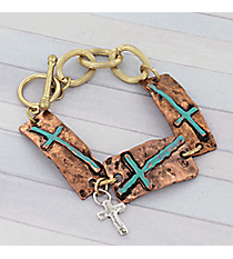 Tri-Tone Turquoise Cross Toggle Bracelet #8730B-CROSS
