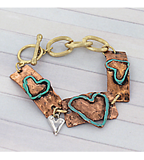 Tri-Tone Turquoise Heart Toggle Bracelet #8730B-HEART