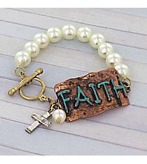 Tri-Tone 'Faith' Faux Pearl Toggle Stretch Bracelet #8733B-FAITH