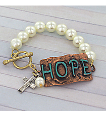 Tri-Tone 'Hope' Faux Pearl Toggle Stretch Bracelet #8733B-HOPE