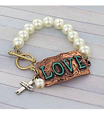 Tri-Tone 'Love' Faux Pearl Toggle Stretch Bracelet #8733B-LOVE