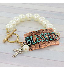"""Tri-Tone """"Blessed"""" Faux Pearl Toggle Stretch Bracelet #8733B-BLESSED"""