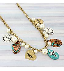 "20"" Tri-Tone Faith, Hope, Love Charm Necklace #8737N"
