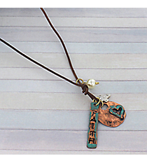 """20"""" Faith Charm Cluster Leather Necklace #8739N-FAITH"""