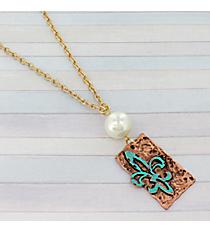 """25"""" Tri-Tone Fleur De Lis and Pearl Necklace #8742N-FLEUR"""