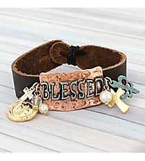 "Tri-Tone Leather ""Blessed"" Bracelet #8747B-BLESSED"