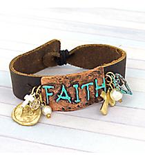 Tri-Tone Leather 'Faith' Bracelet #8747B-FAITH
