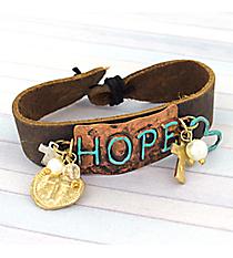 Tri-Tone Leather 'Hope' Bracelet #8747B-HOPE