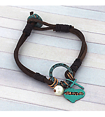"Turquoise ""Blessed"" Double Strand Leather Charm Bracelet #8751B-BLESSED"