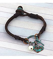 """Turquoise """"Faith"""" Double Strand Leather Charm Bracelet #8751B-FAITH"""